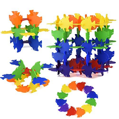 GYBBER&MUMU エンジンブロック 積み木 立体パズル プラスチック タイヤ ツール モデルDIY 組み立て 知育玩具 (小さい魚)