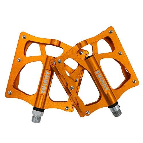EULANT Pedali Bicicletta in Alluminio, Pedali Flat MTB Largo, Pedale da Ciclismo, Tre Cuscinetti Sigillati & Staccabile Antiscivolo Unghie, Leggero, 1 Paio, Giallo Dorato
