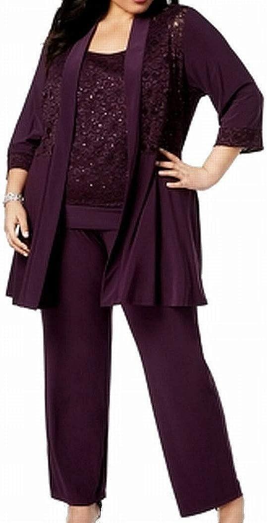 R&M Richards Women's Plus Size Womans Mock Top Lace Pant Set