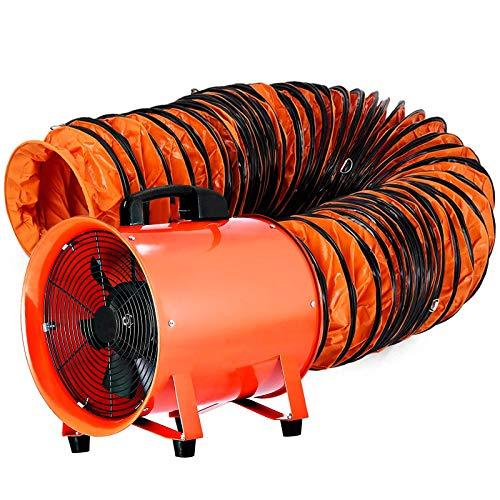 Husuper Extractor Industrial Portátil 300 mm, Ventilador Profesional para Construcción 520 W, Ventilador Portátil de Piso Industrial, Eléctrico Ventilador y Extractor de Aire con5 m de Tubería