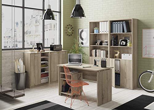 Miroytengo Pack Muebles despacho Oficina Teide Color Cambrian (Mesa Escritorio + Buck + 2 Armarios + 2 Estanterías)
