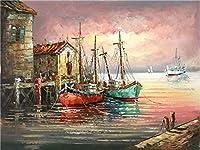 DIY数字油絵 塗り絵キット パズル油絵 海岸のボート 数字キットによる絵画 子ども塗り絵 手塗り デジタル油絵 ホームデコレーション 40x50cm(額縁なし)