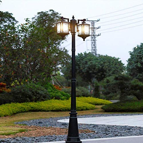XXLYY Luz de calle de poste alto chino Luz de poste de aluminio Impermeable al aire libre Anticorrosivo LED Lámpara de calle antigua para el hogar Villa de jardín Césped comunitario Poste de jardín Lu