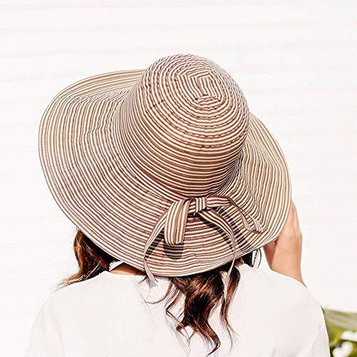Yarmy dameshoed, vrouwelijk parasol vakantie strand hoed zonwering strepen grote langs doek muts zeer licht en eenvoudig op te vouwen