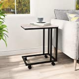 <span class='highlight'><span class='highlight'>BOFENG</span></span> Side Table Mobile Coffee Table Heavy Duty Iron Snack Tables End Desk with Wheels Look Accent Black Metal Frame C Tables, Black White oak