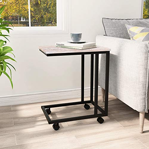 BOFENG Side Table Mobile Coffee Table Heavy Duty Iron Snack Tables End Desk with Wheels Look Accent Black Metal Frame C Tables, Black+White oak
