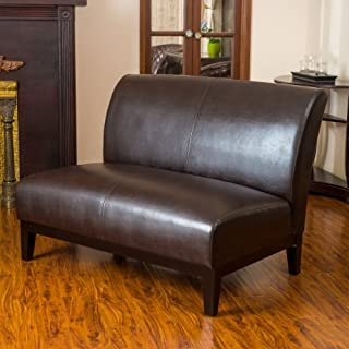Christopher Knight Home Darcy Brown Leather Loveseat