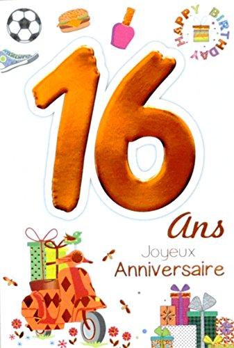 Age MV 69–2016tarjeta cumpleaños 16años Ados niño Niña diseño Scooter regalo Hamburger Basket Foot esmalte de uña Happy Birthday