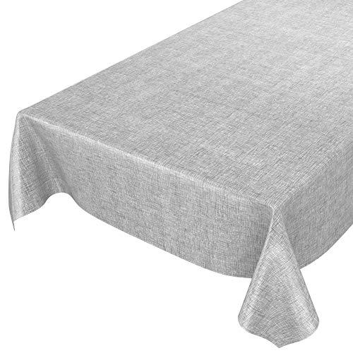 ANRO Mantel de Hule para Mesa (Lavable, 100 x 140 cm), diseño a Cuadros, Color, Toalla, Gris Plateado, 100 x 140cm