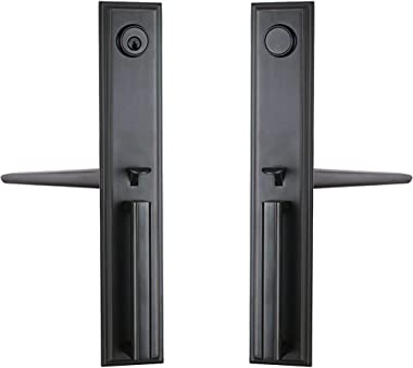 Double Door Handle Set with Dummy Inactive Handle Set for French Right and Left Hand Door (2011 Keyed & Dummy Set, Oil Rubbed
