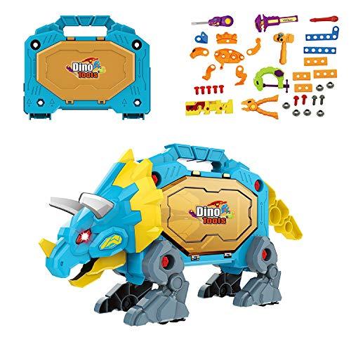 ZhanXiang Dinosaurier Werkzeugkasten Spielzeug Set, mit Lichtern,Sounds.51 Stück Kinder DIY Rollenspielkoffer Spielzeugset,35 Stück Simulationswerkzeug Requisiten für 3.4.5.6 Jungen
