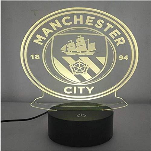 HLHHL-Lamp Lampe à éConomie D'éNergie 3D Night Lights Manchester City/LED, 7 Variations De Couleurs, Tactile/TéLéCommande, Base Noire, Oeuvre De DéCoration IntéRieure