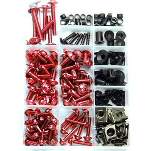 TININNA 223 Stück Motorrad Verkleidung Schrauben-Set Verkleidungsschrauben Set Schrauben Karosserie Kit für Universal für die meisten Motorräder modifizierte Zubehör Schraubensatz Rot