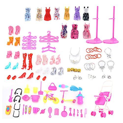Conjunto de 106 prendas de vestir para muñecas Barbee – 10 faldas + 12 pares de zapatos