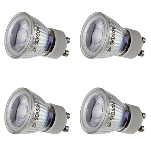 Preisvergleich Produktbild SEBSON LED Lampe GU10 warmweiß 3W,  ersetzt 20W Halogenlampe,  35mm Durchmesser,  250lm,  Spot 36°,  230V,  4er Pack