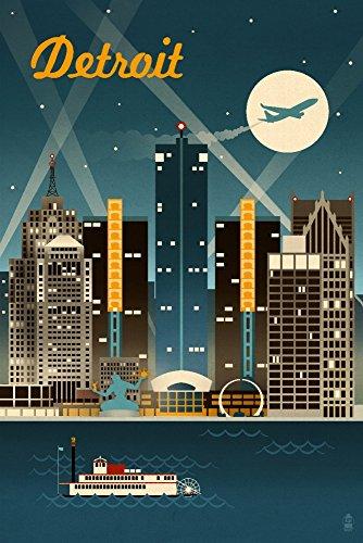 Detroit Retro Skyline Poster