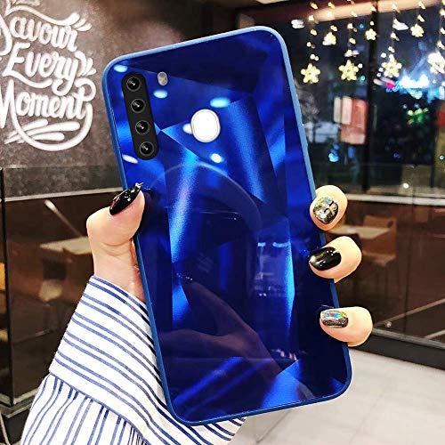 Uposao Kompatibel mit Samsung Galaxy A21 Hülle Spiegel Handyhülle Glänzend Glitzer Strass TPU Silikon Hülle Schutzhülle Überzug Mirror Case Stoßfest Cover Dünne klare weiche TPU Hülle,Blau