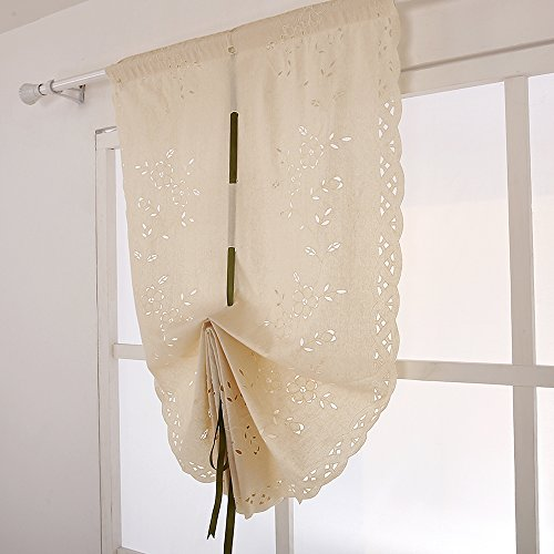 ZHH Cotton Tie-Up Window Curtain Handmade Openwork Crochet Embroidered Roman Shade 32-Inch by 55-Inch, Beige