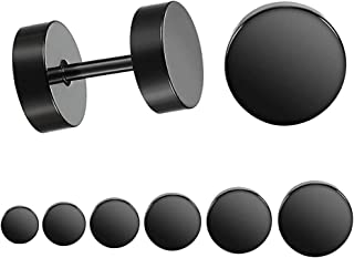 Stainless Steel Black Stud Earrings for Men Women, 3mm-8mm Available (6 Pairs a Set)
