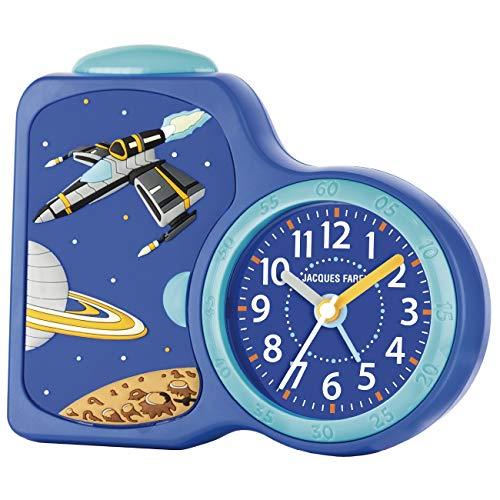JACQUES KLEL kinderwekker jongens ruimte blauw zonder tikken, met licht en Snooze ACB 08SPA
