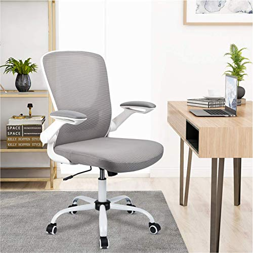 Komene Home Office Desk Chair, Ergonomic Office Chair Large Seat, Mid Back Mesh Executive Chair with Flip-up Armrests, Swivel Task Gaming Chair with Lumbar Support, Metal Base (Grey)