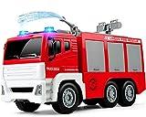 GizmoVine Attrito Alimentato Camion dei Pompieri con Acqua Nebulizzata Pompa dell'Acqua Spingi e Vai Giocattoli da Costruzione con luci e Suoni per Ragazzi e Ragazze
