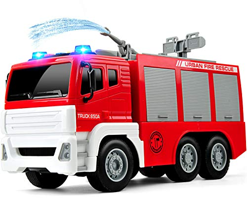 GizmoVine Feuerwehrauto mit Wasserspritze ,1:12 Groß Feuerwehr Spielzeugautos Reibung Angetrieben BauSpielzeug mit Lichtern und Tönen für Jungen und Mädchen