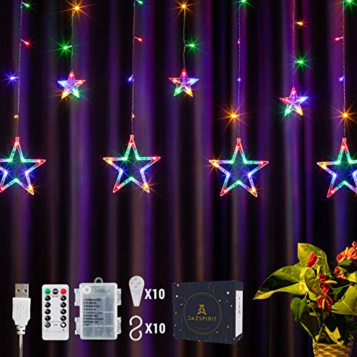 DazSpirit 2.5m LED Luces Estrellas de Navidad Guirnaldas Decorativa Dormitorio con Control Remoto 20 Ganchos - USB o Batería, 8 Modos, Caja de Regalo Premium, Impermeable, Interior Exterior, Vistoso