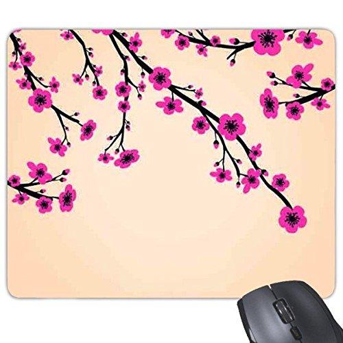 Japan Cultuur Roze Zwart Geel Tak Sakura Art Illustratie Patroon Rechthoek Antislip Rubber Mousepad Game Mouse Pad