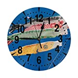 掛け時計 青空と鯉のぼり 大文字 連続秒針 静音 壁掛け時計 置き時計 直径25cm