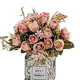 BlueXP 3 Bouquets de Fleurs Artificielles Faux Rose En Soie Plastique pour DIY Décoration de Fête D'intérieur de Mariage Jardin Rose