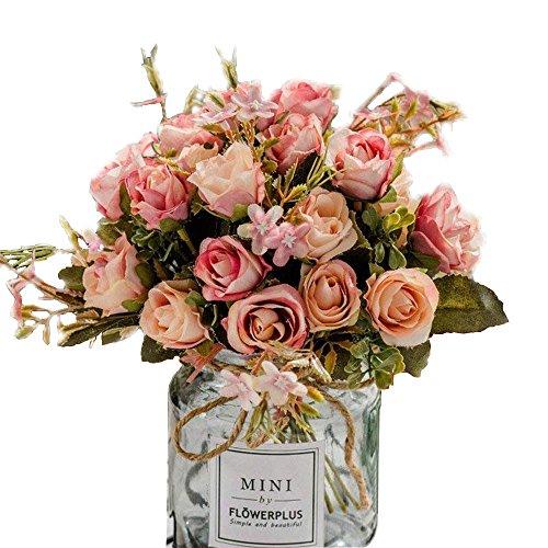 Kunststoff Künstliche Rose von DIY Seide Gefälschte Blumen für Haus Simulation Europäischen Rose für Jäten Partei Dekoration Oder Brautstrauß 3 Paket Seide Kunststoff Rose Blume Rosa