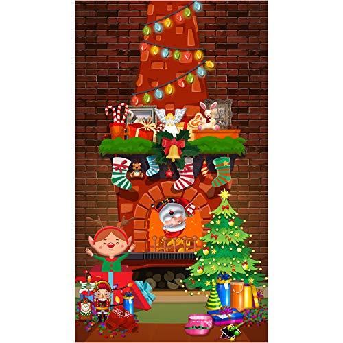 musykrafties Kerstmis Wall Scene Setters Open haard Mantel achtergrond fotografie achtergrond