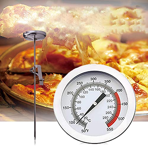 MZY118 Termómetro de Acero Inoxidable para freír con Clip,Termómetro de Carne para Alimentos, termómetro de Cocina con dial de Lectura instantánea