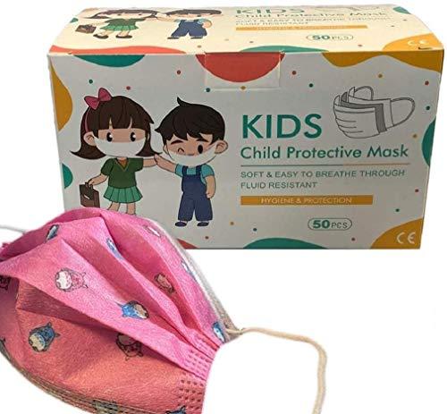 50x DECADE Kinder MÄDCHEN ROSA Einweg Maske Gesichtsmaske Vlies Einwegmaske Mundschutz Staubschutz mit Ohrschlaufen Farbe ROSA Atemmaske Atemschutzmaske