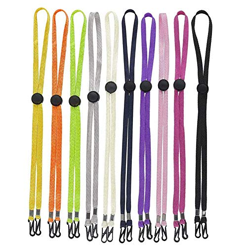 Tovip 10Pcs Mixed Color Hat Chin Cord with Adjustable Cord Fastener - Unisex Removable Sun Hat Chin Strap with Spring Loaded Stop Cord Lock, Windproof Buckle Retaining Clip