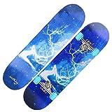 QUNHU Skateboards, Pro Skateboard Complete 7 Capas de Plataforma 31'x8 Patinaje de Skate Maple Wood Longboards para Adultos Adolescentes jóvenes Principiantes para niños niños niños (Color : Deer)