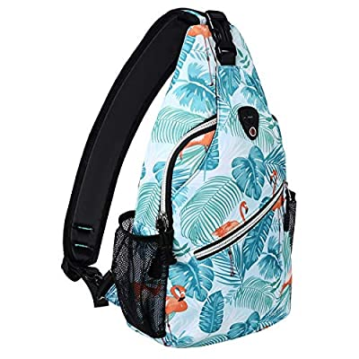MOSISO Sling Backpack,Travel Hiking Daypack Pattern Rope Crossbody Shoulder Bag, Flamingo
