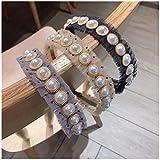 YXFYXF Moda Pearl Hairband Gauze Punto de Onda Plegable DIEADA Dot Rhinestone CHEQUES DE Pelo para Mujeres ARO DE Pelo ARCES Accesorios Pelo 3 UNIDS