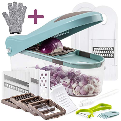 Multiple Vegetable Onion Chopper Mandoline Slicer - Food Cutter, Dicer, Grater, Shredder - No BPA Kitchen Gadgets, Tools and Accessories - Durable Stainless Steel Blades - Non-Slide Rubber Lid