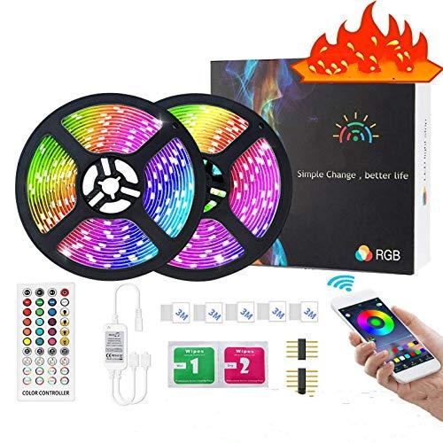Luci di Striscia a LED Bluetooth 20m 5050 RGBmusic IP65 Luci a Corda Impermeabili con Controllo App Applicare per TV, Camera da Letto, Festa E Decorazione Domestica.10m