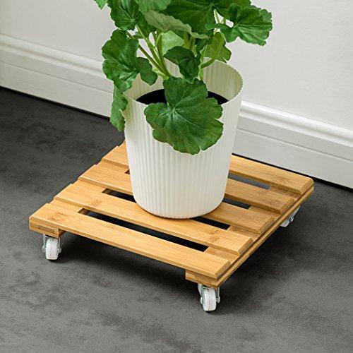 Affichage de support de fleur de balcon Pot en bambou de rouleau de bambou sur le meuble mobile de jardin de fleurs de roues, 25 * 25cm Support de plante extérieur intérieur