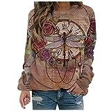 Xmiral Pullover T-Shirt Donna Camicette Top Donna O-Collo Scenario Stampa a Farfalla Maniche Lunghe (S,1Cachi)