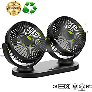 USB Desk Fan,Twins Car Fan 3 Speeds 360º Pivot Desktop Cooling Fan Air Circulator High Velocity Fan for Office,Home,Car - ...