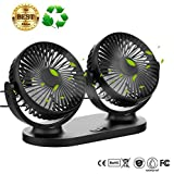 USB Desk Fan,Twins Car Fan 3 Speeds 360º Pivot Desktop Cooling Fan Air