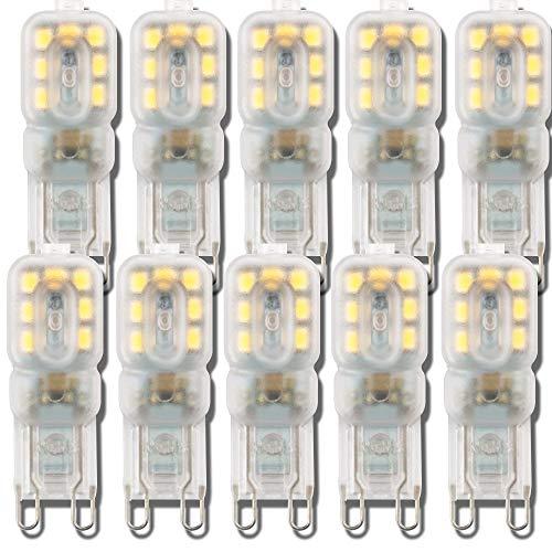 ZJING Bombillas LED G9 de 5W, (50W equivalentes a Las Bombillas halógenas) 400LM, Bombillas LED de Ahorro de energía, no Parpadea G9 Socket Led, Paquete de 5,3w Cool,Transparent Color