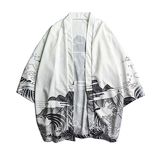 LaoZanA Hombres Vintage Japonés Kimono Camisa Haori Estampado Holgado Cárdigan 4 L