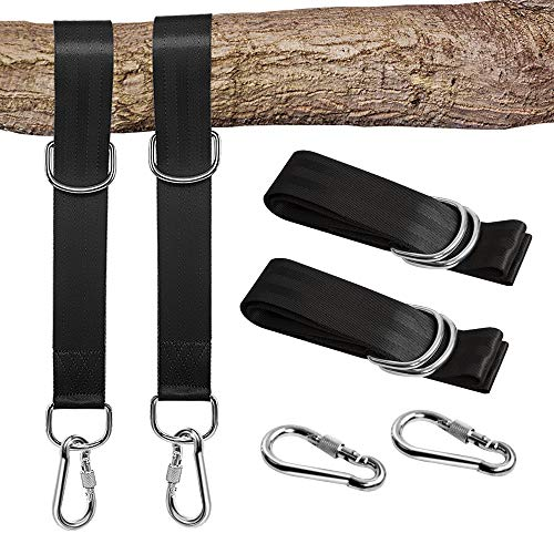 NeBatte 2X Tree Swing Hanging Strap Kit,argollas Colgantes para Colgar árboles con mosquetón de Seguridad con Bolsa de Transporte- Negro