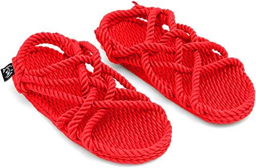 Nomadics JC - Sandali unisex da adulto in corda, Rosso (rosso), 36 EU
