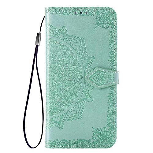 Fertuo Case for Asus Zenfone 7 ZS670KS, Premium Leather Flip Wallet Case with [Card Slots] [Kickstand] [Hand Strap] Mandala Flower Embossed Shockproof Cover Case for Asus Zenfone 7 ZS670KS, Green